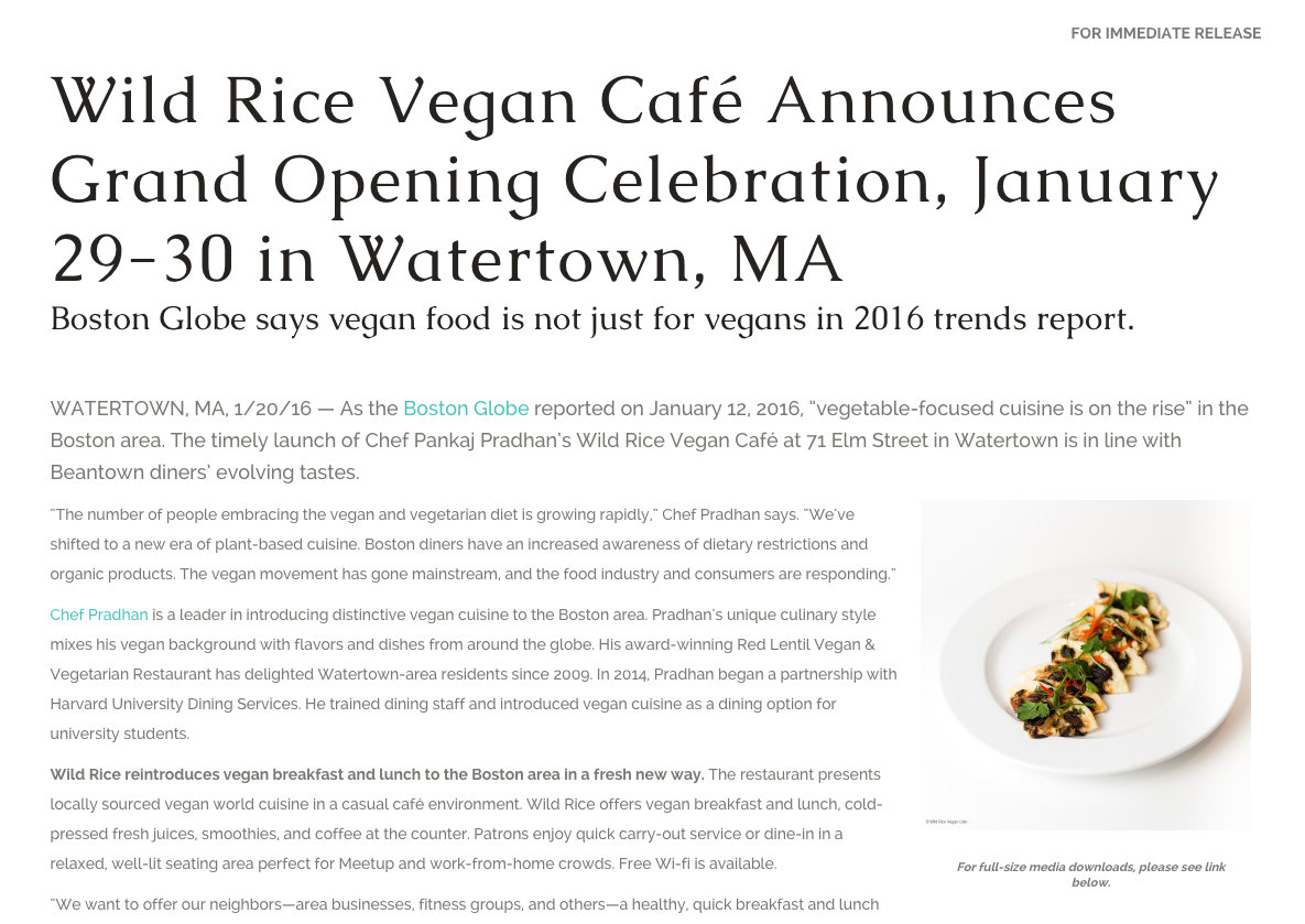 Restaurant Launch Press Release