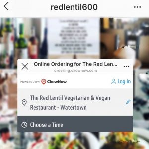 Instagram action button on Red Lentil restaurant profile