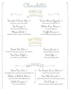 Claudette NYC menu design