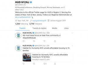 Twitter social media posts by HUD in region 2 serving New York and New Jersey.
