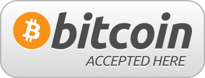Bitcoin accepted here. Decal for restaurant promotions for cryptocurrency.