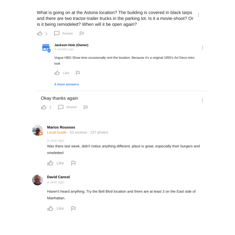 Google question and answer screenshot