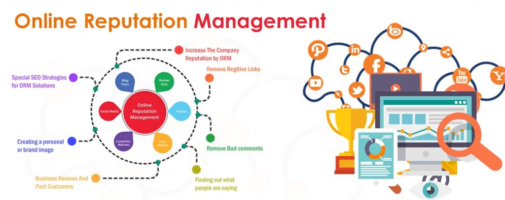 Online reputation management is done through social media, review monitoring, and more.