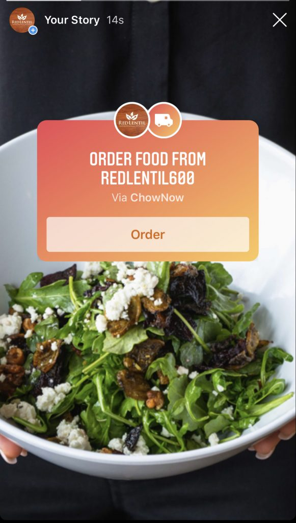 Instagram Story order food button